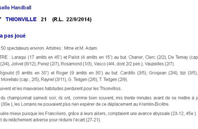 SENIORS M1 : CSAKB vs THIONVILLE - Article Rep. Lorrain