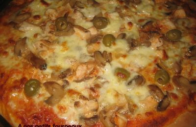 Pizza dinde-champignons-olives