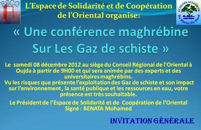 Conférence Maghrébine sur les Gaz de schiste le 7 et 8 decembre 2012