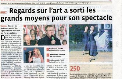 "Article ""La Tribune Le Progrès"" du 31 Oct 2011: Regards sur l'Art a sorti les grands moyens pour son spectacle"