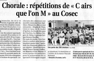 "Article ""La Tribune Le Progrès"" du 20 Sept 2011: Répétition de ""C Airs que l'on M"""
