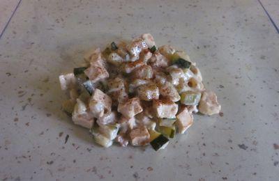 Wok de courgettes et poulet aux épices