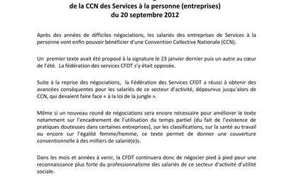 La Convention Collective Nationale des Services à la personne (Entreprises) a été signée aujourd'hui par la CFDT.