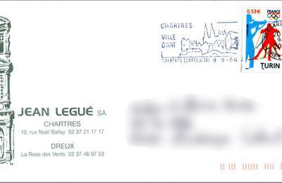 Librairie Legué à Chartres signet et enveloppe illustrée