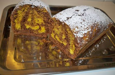 Plumcake marmolado de chocolate y naranja