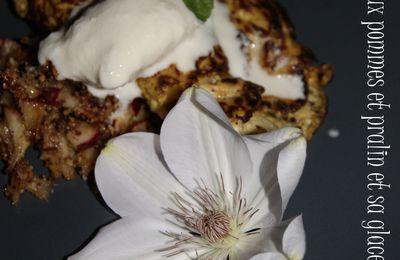Omelette sucrée aux pommes et pralin avec sa glace au lait de coco.