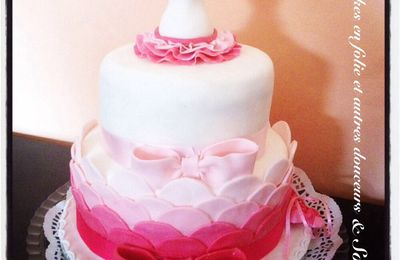 Wedding cake Ballerine (rose et blanc)