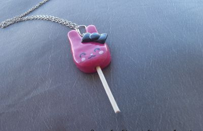 Collier Sucette Lapin Rose Kawaii