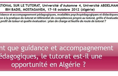 Communication sur le tutorat de A. BOUGUERBA à l'Université de Mostaganem