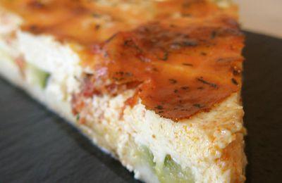 TARTE aux courgettes, fromage frais et chorizo