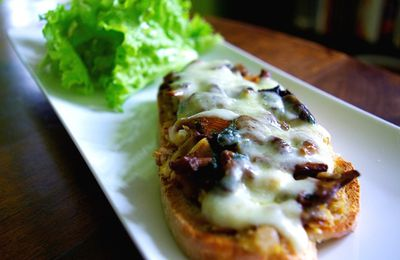 Tartine poulet champignon fromage