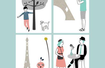Pleins de petits cadeaux illustrés par Audrey Jeanne © (badges, cartes postales, stickers, coloriage à encadrer...)