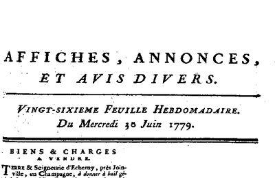 TERRES ET SEIGNEURIE D'ECHENAY A LOUER - 1779