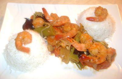 Crevettes sautées aux légumes croquants