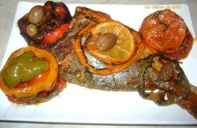 Daurade à la tomate et aux trois poivrons