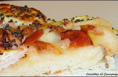 Pizza courgettes, poulet et chèvre frais