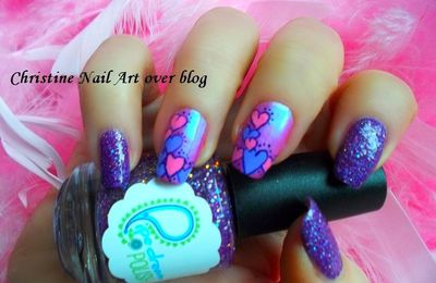 Nail art Saint Valentin - Anjo Beauty - Pipe dream polish - Born to the purple