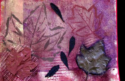 mixed media : feuilles