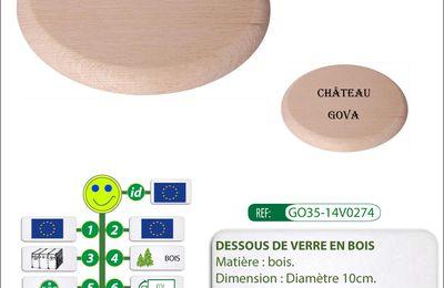 Dessous de verre publicitaire en bois de fabrication européenne GO35-14V0274
