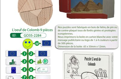 Mini-puzzle publicitaire en bois l'oeuf de Colomb GO35-2284