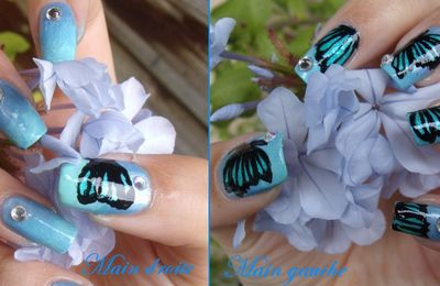 Nail Art - Blue Butterflies