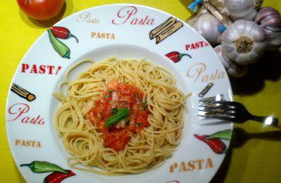 spaghettis ail/tomates/basilic