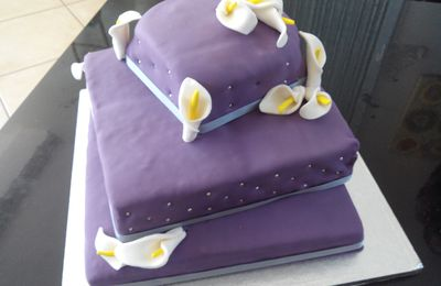 Pièce-montée carrée mariage thème Violet et Gris - Arum