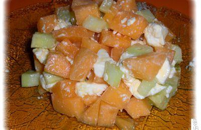 Tartare au melon concombre et feta
