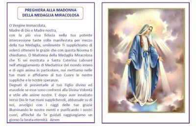 18 Novembre: inizio della Novena della Medaglia Miracolosa.