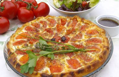 Tarte croustillante tomates, pommes de terre et 2 fromages