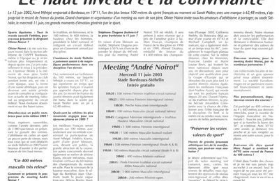 Sport - Sports Aquitains - Meeting André Noirot - Juin 2003