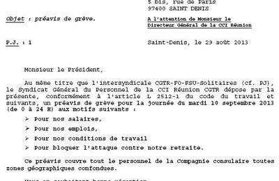 Préavis de grève du SGPCCI Réunion