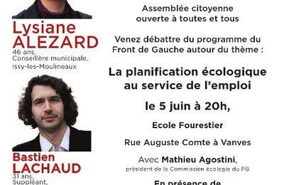 Mardi 5 juin 20h réunion publique à Vanves: Planification écologique et emploi