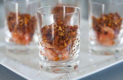 Crumble de chorizo et crevettes roses [Verrines]