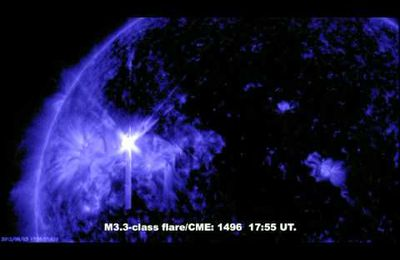 M3.3 Solar Flare/CME Sunspot 1496