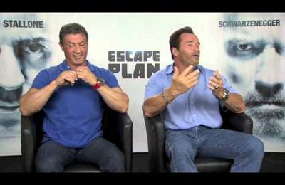 "interiews de sly et arnold pour le film""escape plan"""