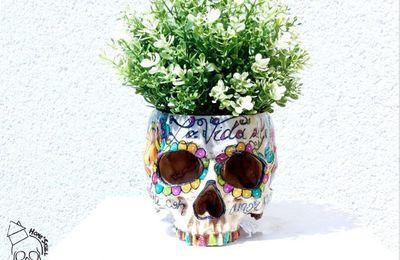 Home'Skull ,Tête de mort , skull, crâne, vanité Cache pot, pot de fleurs Vida Del Mexico