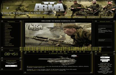 Free Dark Green Army Clan Phpnuke Theme Template