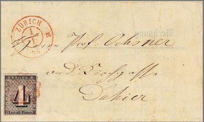 Le premier timbre de Suisse, canton de Zurich