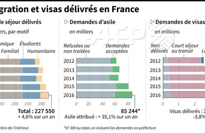 Immigration et visas en France de 2012 à 2016