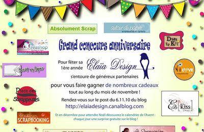 Grand concours anniversaire Elaïa Design