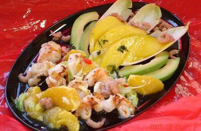 Salade de scampis a la mangue ( light )