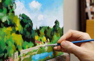 Dessin et peinture - vidéo  1861 : Comment peindre à l'acrylique, à la saison chaude, la végétation et le feuillage des arbres 2 ?