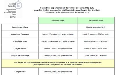 Modification du calendrier scolaire