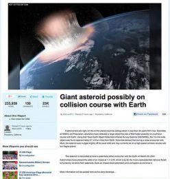 L' asteroide che distruggerà Terra il 35 marzo 2041
