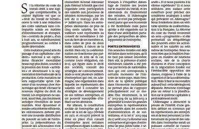 Jean-Pierre Chevènement : Osons la codétermination pour réformer le code du travail !