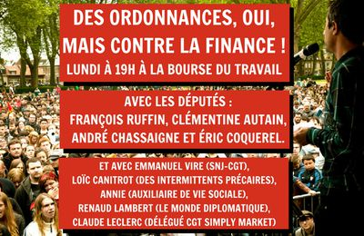Des ordonnances contre la finance. Meeting à Paris lundi 19h
