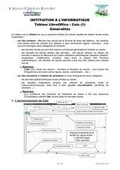 Initiation au tableur CALC