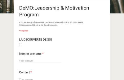 LEADERSHIP AND MOTIVATION PROGRAM : Atelier _Decouverte de Soi