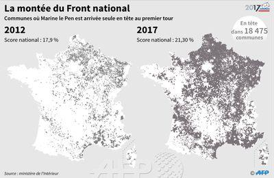 Communes où Marine Le Pen est arrivée en tête au 1er tour de 2012 et de 2017